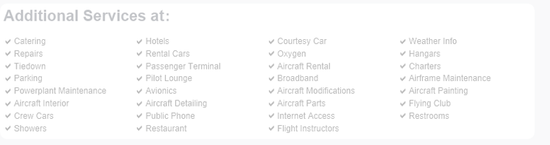 Okmulgee Regional Airport services are not listed